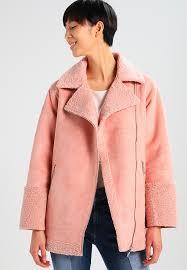 longline borg faux leather jacket pink