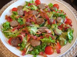 the pork sausage i used in this salad is made at a nearby czech meat market it is unsmoked and uncured the market ures me it is pure ground pork and