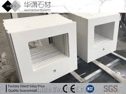 pure white quartz countertop one sink cut out one tap hole