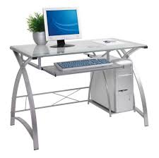 Furniture: Modern Metal Computer Desk With Glass Top And Cpu Stand - Cheap  Modern Computer