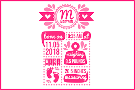 Template For Birth Announcement Birth Stats Svg Birth Stats Template Birth Announcement