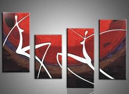 wall art decor hand painted canvas art wall decor red colored background white silhoutte people
