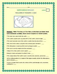 The Layers Of The Earth A Quiz 20 Statements 2 Bonus Q Answer Key