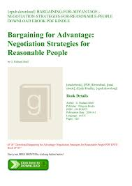 Negotiation Strategies For Reasonable People Bargaining For