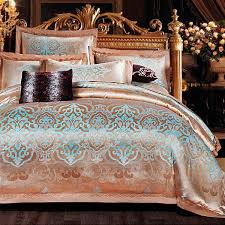 high quality luxury satin 100 cotton flowers color 4pc bedding set satin jacquard embroider duvet