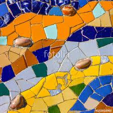 ceramic tile colorful background broken glass mosaic tile decoration in park guell barcelona