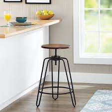 mainstays adjustableheight swivel barstool hammered bronze