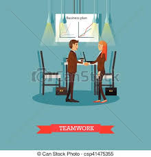 Teamwork Presentations Vector Poster Of Business Presentations And Meetings Banners