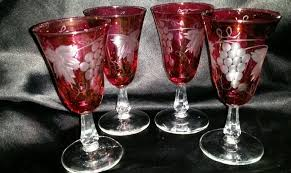 4 vintage cranberry red pink cut to clear bohemian wine glasses g leaves euc
