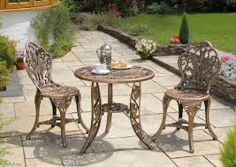 3 piece resin garden bistro patio set in bronze lightweight 67cm round table and chairs
