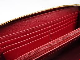 Coach COACH Madison gathered leather accordion zip around large zip around  wallet dark red leather F51119