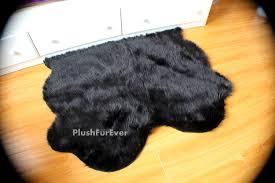 black faux fur rug double sheepskin pelts mini plushfurever