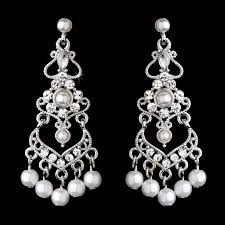 elegant crystal and white pearl chandelier earrings sa958