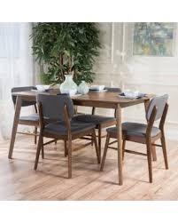 large dining table. Carson Carrington Kemi Mid-century 5-piece Wood Large Dining Table Set (Charcoal