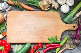 cutting board with food. Download Spice Herbs And Vegetables Food Background Empty Cutting Board Stock Photo - Image Of With G