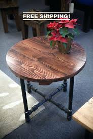black round coffee table round industrial end table end table with black metal pipe legs rustic