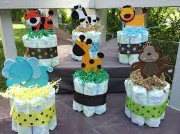 jungle safari theme mini diaper cakes baby shower centerpiece design of diy baby shower gift ideas