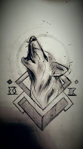 волк рисунок карандаш эскиз геометрия My Arts в 2019 г