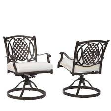 belcourt custom swivel rocking metal outdoor dining chair 2 pack with cushions included