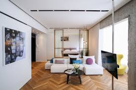 Decorative Interior Columns Herringbone Floors And Concrete Columns Linked By Modern