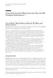 Short Term Incentive Plan Design Pdf Long Term Incentive Plans Executive Pay And Uk Company