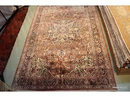 7 x 11 kashmir silk rug tabriz design handmade hand knotted