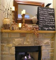 lovely wooden mantel decors with square mirror frames and candle holders as well as chalk board over wooden mantel stones fireplace ideas