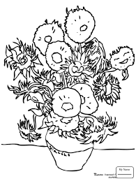 Small Picture coloring pages for kids Sunflowers By Vincent Van Gogh arts