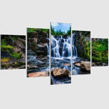 Waterfall Home Decor Aliexpresscom Buy 5 Pieces Set Waterfall Canvas Painting Modern