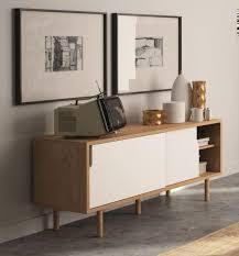 dann modern tv cabinet in oak and white matte finish sliding doors