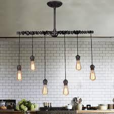 industrial 6 light plumbing pipe hanging exposed bulb metal pendant light in brushed black