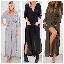 Sexy Beach Wear Black Long Sleeve High Split Maxi Dress Deep V