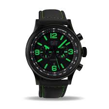 men s military watch green chronograph waterresist 50m black men s military watch green chronograph waterresist 50m black dial black lorica strap davis 1842