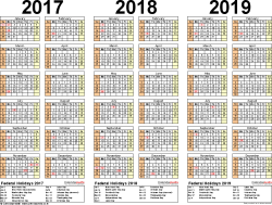 3 Year Calendar 2017 2018 2019 Calendar 4 Three Year Printable Pdf Calendars