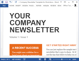 sample company newsletter sample company newsletter template for word