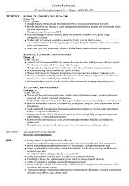 Logistics Management Resume Transportation Manager Resume Samples Velvet Jobs