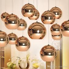 full set led pendant lamp copper sliver shade mirror chandelier light e27 bulb modern christmas chandeliers glass ball droplight lighting pendent lights copper chandelier lighting s87