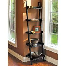Spectacular Brown Wall Painted Also Dark Finished Wooden Ladder Shelf As  Display Storage In Living Areas Furniture Designs