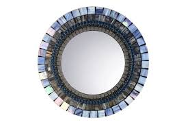 Small Picture Blue and Gray Wall Mirror Mosaic Mirror Round Mirror Decorative