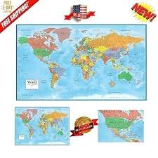 Large Us Map Poster Giant World Map Poster Wall Canvas Laminated Maps P