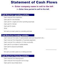format of cash flow statements cash flow statement template blue layouts
