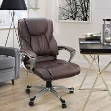 com office chair with pu leather back support big tall high back computer desk chair brown kitchen dining