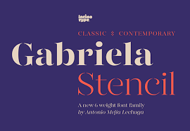 Stencil Fonts Gabriela Stencil A Classic Stencil Font Family With A Unique Character