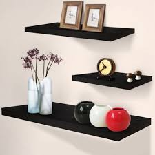 3pc wooden floating wall shelf set easy install home office black