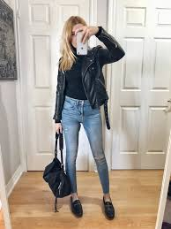 and only because you re wearing a black leather jacket doesn t mean you have to wear black shoes and handbags as you can see in the first picture