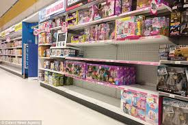 the toys r us in oldbury west midlands has various empty shelves and