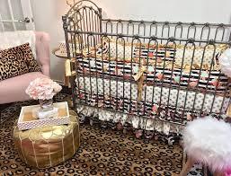 girl crib bedding black and white