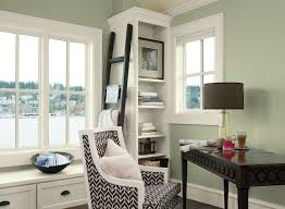 Office paint colours Modern Office Soothing Home Office Space Tree Moss 508 walls Mountain Peak White Oc121 trim Branchport Brown Hc72 accent Pinterest Interior Paint Ideas And Inspiration Home Office Color Inspiration