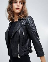 women s clothing black allsaints quilted leather biker jacket studded lapels tipcduc 1305393