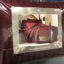 details about jcpenney royal velvet reversible comforter set queen egyptian palmetto red nip